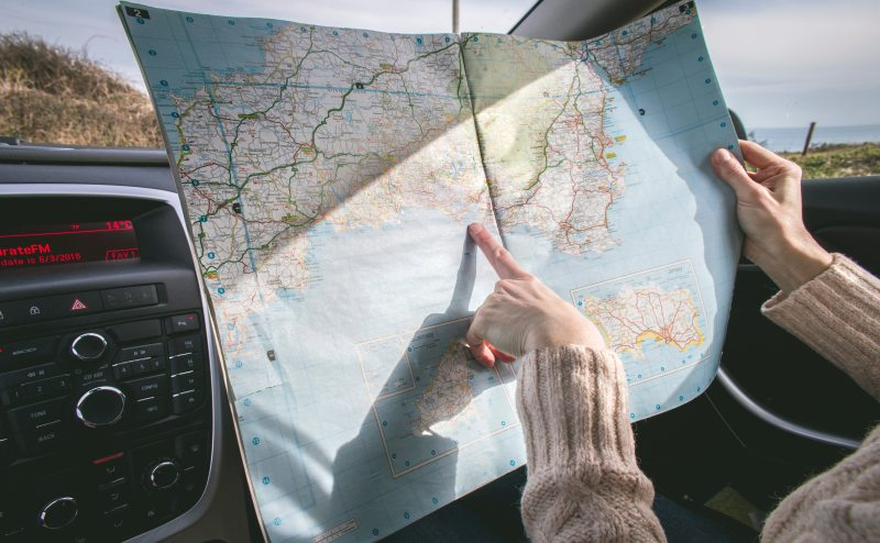 Translating directions on a map to the road ahead.